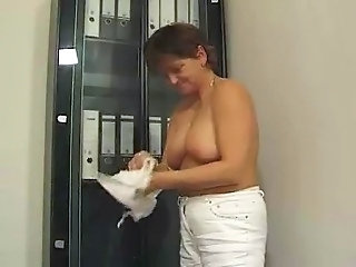 Office Secretary Chubby Granny Stockings Stockings Tits Office