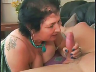 Granny sucks a dong and takes a facial tubes