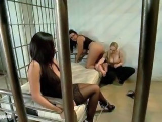 Lesbian officer Aiden Starr and couple sexy prisoners