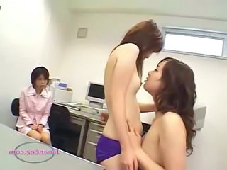 Office Lady Sucking And Fucked With Strapon While 3rd Girl Watching Them On The Desk In The Office