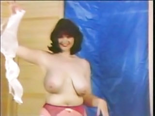 Big tits retro girl in red lipstick solo tease tubes