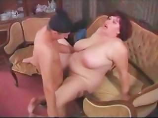 Fat mature housewife catches thief and makes him bang her