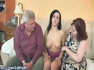 Threesome Family Old And Young Daddy Family Granny Young