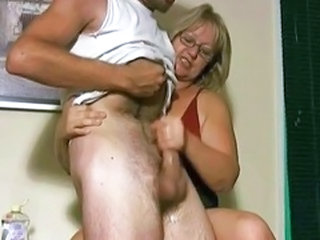 Handjobs young Mature and