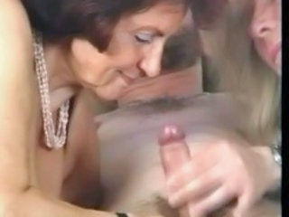 Threesome Blowjob Granny Stockings Stockings