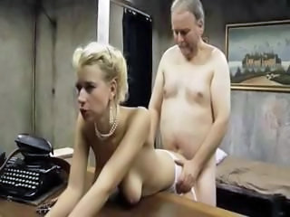 Busty blonde gets old guy's cock in her mouth and then fucks
