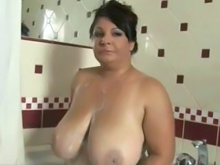 big mature in shower