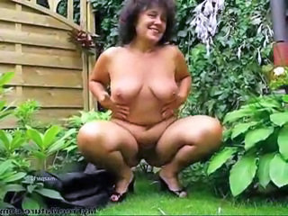 Chubby Granny In The Garden mature mature porn granny old cumshots cumshot