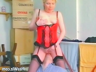 mature blonde whore licks dick and gets