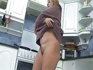 Grandma Jacks Her Pussy in the kitchen