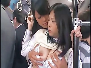 Student Japanese Public Asian Lesbian Asian Teen Bus + Asian