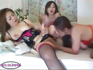 Asian Lesbian Triple Threat With Hot Strapon Fucking Action