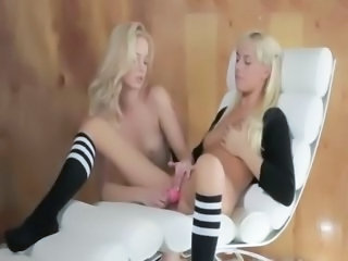Unique blonde lesbs in daddys office