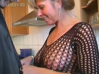 Kitchen Mom Mature Fishnet German German Mature
