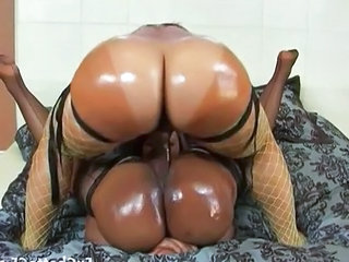 Ebony MILF Oiled Ebony Ass Fishnet Lesbian Strapon