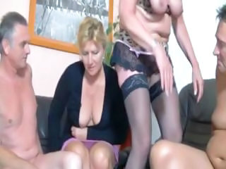 Private Action In Deutchland With This Plump Blonde Granny And Her Gal...