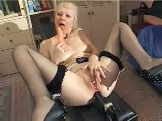 Masturbating Solo Toy French Granny Blonde Granny Stockings