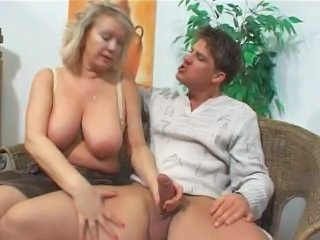Busty Blonde Mature in Stocki...