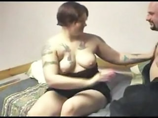 Fat brunette girlfriend with tattoos gets drilled by boyfriend