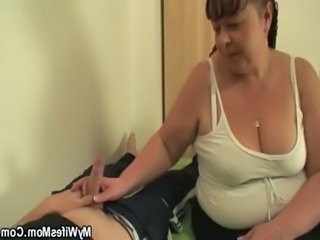 Handjob Old And Young BBW Bbw Mom Handjob Busty Mother