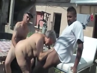 Raymonde is a fat french granny but she loves to gets drilled by 2 cocks..