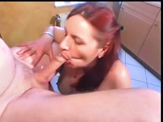 Redhead Blowjob Kitchen