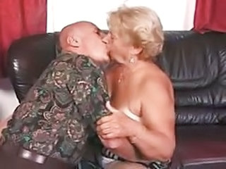 Older Kissing Wife Grandma Grandpa