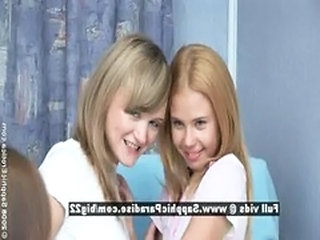 Bethany and Ania and Agathe, lesbian teen babes three...