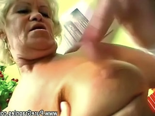 Horny Grandma Gives Her Young Lover Head