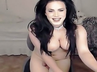 Busty chick with dick jerking off