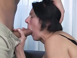 Brunette Blowjob Granny Stockings Stockings