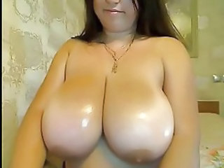 Huge melons on bathroom Babe played with