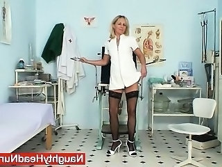 Nurse Solo Uniform Gaping Mature Pussy Mature Stockings