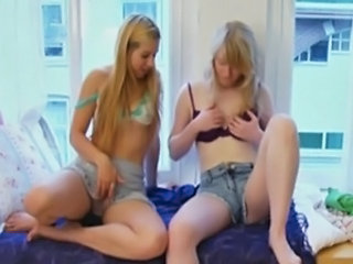 two sexy sweet teen blonde girlfriends with great tits masturbate together...