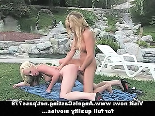 Gorgeous blonde lesbian girls licked pussy and sucking in nature Sex Tubes