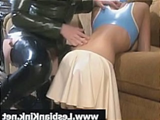 Two hot brunette in latex play with big titties and the ass