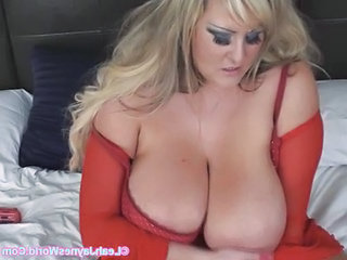 Lady In Red Masturbates Passionately