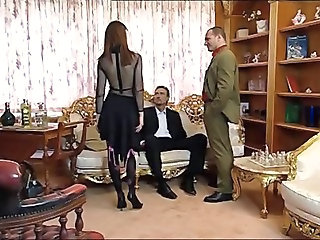Threesome Vintage Hardcore Lingerie Stockings Threesome Anal