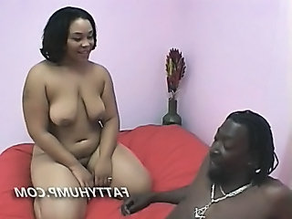 Fat Ebony Babe Sucking Cock So Big It Barely Fits In Her Mouth