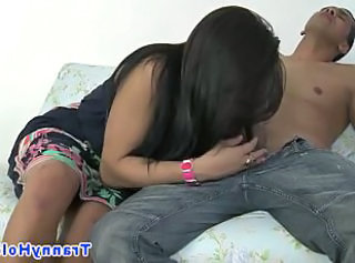 Shemale tranny drooling on hard cock