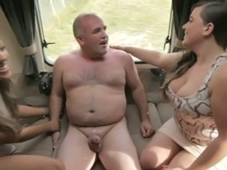 CFNM femdoms tugging their subs dong until eating