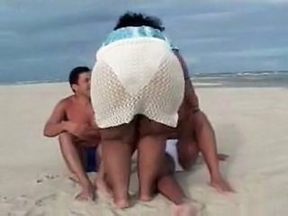 Ass Threesome Beach