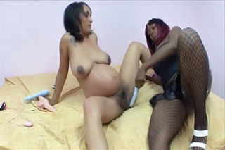 Pregnant Brunette Plays Lesbian Games Wi...