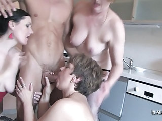 Several grannies sharing 1 hard cock