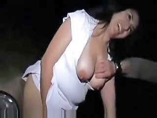 Horny wife with strangers in car pak. Amateur public nudity