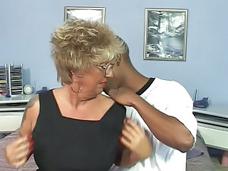 Pierced Nipples Tattoo Granny in Stockings Fucks