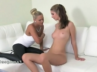 Blonde Russian female agent recording her interview with brown haired amateur...