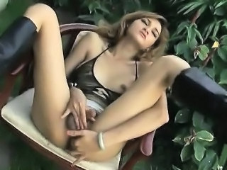 Hot ladyboy touching her tits and jerking