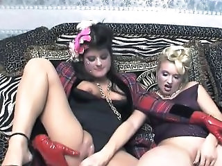 Two Chic Sluts Flying High Fully Clothed Sex With Vibrator F