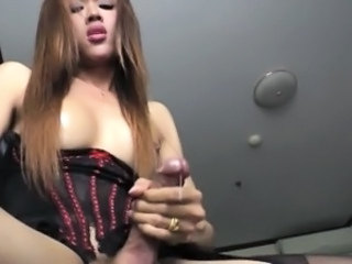 Lovely Asian TS Apple solo masturbation